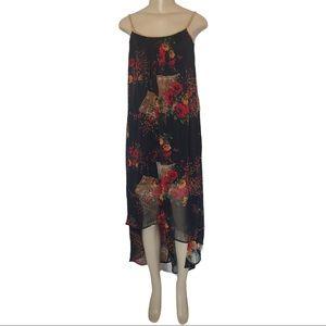 Spaghetti Strap Sheer Floral Chiffon High Low Midi Dress